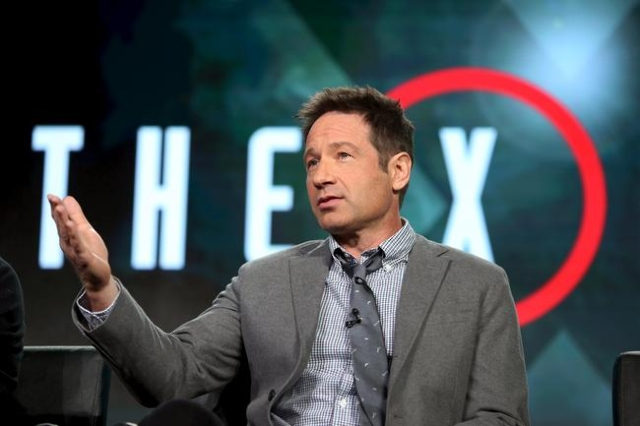 "Actor David Duchovny of ""The X Files"" speaks during the Fox Network presentation at the Television Critics Association (TCA) winter press tour in Pasadena, California January 15, 2016. ( ..."