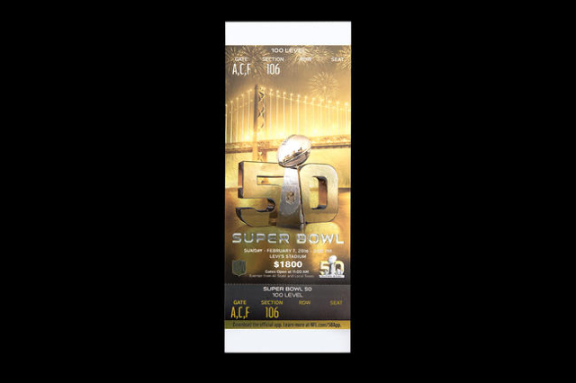 Jan 15, 2016; Atlanta, GA, USA; Studio photograph of a game ticket for Super Bowl 50 which will be played on February 7, 2016 at Levi's Stadium. (Garrett Reid/USA Today Network)