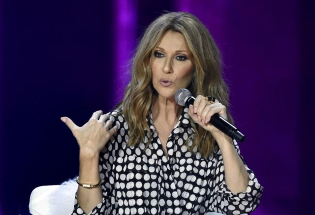 Canadian singer Celine Dion speaks during a news conference before her concert at The Colosseum at Caesars Palace in Las Vegas on August 27, 2015. (REUTERS/David Becker)