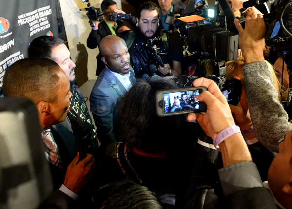 Jan 19, 2016; Beverly Hills, CA, USA; Timothy Bradley, Jr speaks to the media after a press conference the at Beverly Hills Hotel to announce his upcoming boxing fight against Manny Pacquiao in La ...