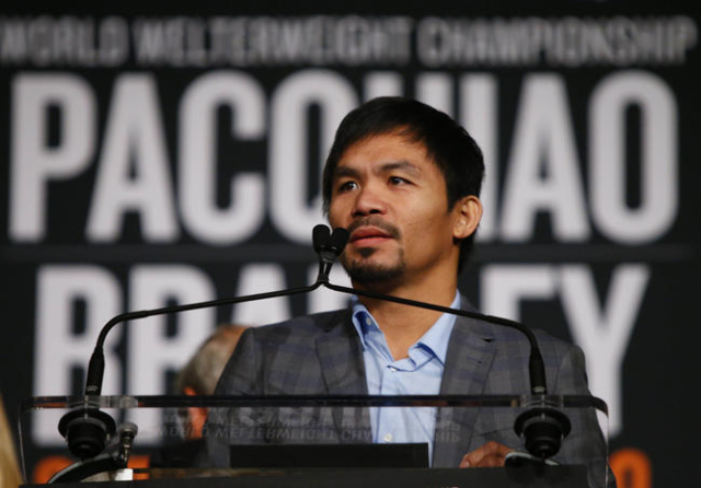 Jan 21, 2016; New York, NY, USA; Manny Pacquiao during a press conference at Madison Square Garden to announce the upcoming boxing fight against Timothy Bradley, Jr. to be held on April 9 in Las V ...