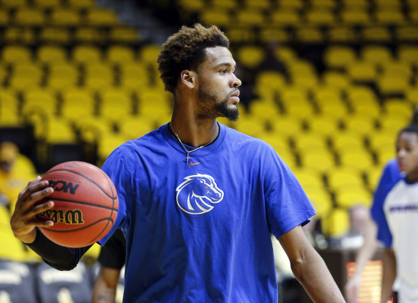 Jan 23, 2016; Laramie, WY, USA; Boise State Broncos forward James Webb III (23) warms up before the game against the Wyoming Cowboys at Arena-Auditorium. (Troy Babbitt/USA Today Sports)