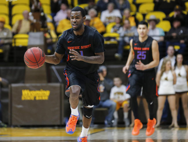 Jan 23, 2016; Laramie, WY, USA; Boise State Broncos guard Mikey Thompson (1) dribbles up court against the Wyoming Cowboys during the second half at Arena-Auditorium. The Broncos beat the Cowboys  ...