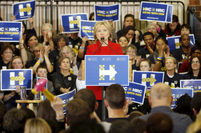 Democratic U.S. presidential candidate Hillary Clinton speaks during a Get Out the Caucus event at the Valley Southwoods Freshman High School in West Des Moines, Iowa, January 24, 2016 (Scott Morg ...