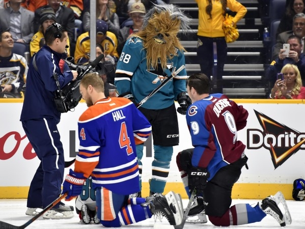 Pacific Division defenseman Brent Burns (88) of the San Jose Sharks wears a Chewbacca mask during the 2016 NHL All Star Game Skills Competition at Bridgestone Arena. Mandatory Credit: Christopher  ...