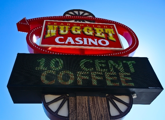 The sign at the Searchlight Nugget touts the casino's 10-cent cup of coffee, a special that dates to the 1950s. (Review-Journal File Photo)