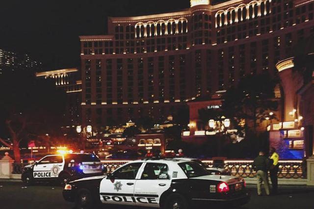 Las Vegas police investigate a shooting along Las Vegas Boulevard in front the of the Bellagio hotel-casino on Friday, Jan. 22, 2016, in Las Vegas. Rachel Crosby/Las Vegas Review-Journal via Instagram