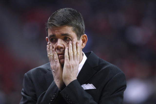 UNLV head coach Dave Rice reacts after a botched play during the first half of their Mountain West Conference game against New Mexico Friday, Jan. 9, 2015 at the Thomas & Mack Center. (Sam Mor ...