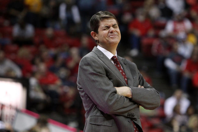 UNLV head coach Dave Rice reacts after UNLV forward Chris Wood committed a line violation during the second half of their Mountain West Conference game against Wyoming Saturday, Feb. 28, 2015, at  ...