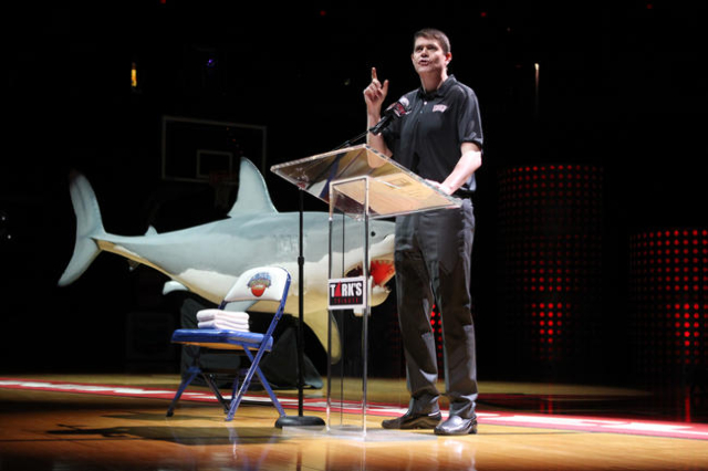 UNLV basketball head coach Dave Rice speaks during a public memorial for hall of fame coach Jerry Tarkanian at the Thomas & Mack Center in Las Vegas Sunday, March 1, 2015. (Erik Verduzco/Las V ...