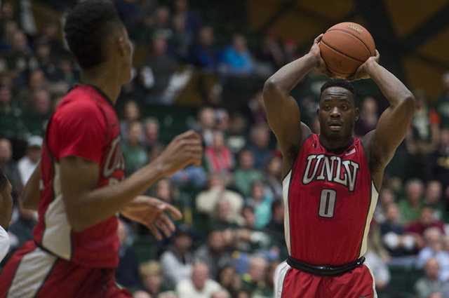 UNLV guard Ike Nwamu looks for an open teammate during a game against CSU at Moby Arena Wednesday, January 6, 2016. (Austin Humphreys/The Coloradoan)