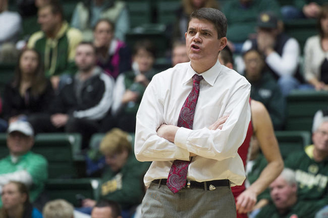 UNLV head coach Dave Rice calls out to his team during a game against CSU at Moby Arena Wednesday, January 6, 2016. (Austin Humphreys/The Coloradoan)