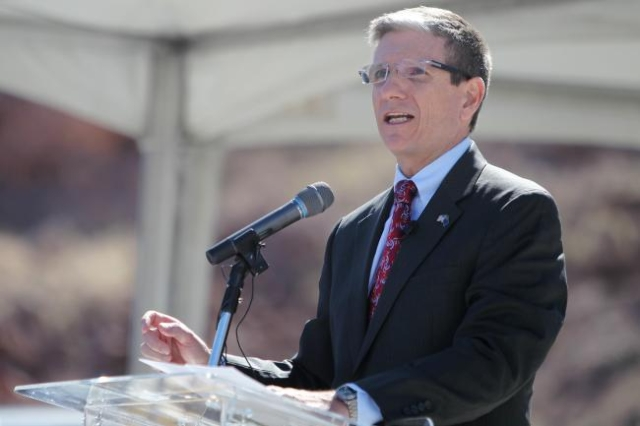 U.S. Rep. Joe Heck, R-Nev., speaks during the ground breaking ceremony for the I-11 Boulder City bypass project in Boulder City on Monday, April 6, 2015. (Erik Verduzco/Las Vegas Review-Journal)