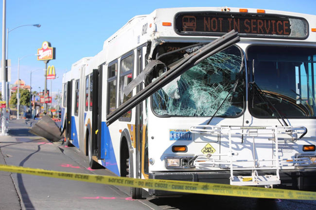 A woman was struck and killed by a Regional Transportation Commission bus Saturday morning, Las Vegas Metropolitan police said. (Brett Le Blanc/Las Vegas Review-Journal)