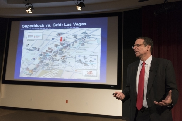Robert E. Lang, UNLV director with Brookings Mountain West, speaks during a community forum about bringing light rail to The Las Vegas Valley at UNLV's Greenspun Hall Auditorium in Las Vegas Fri ...