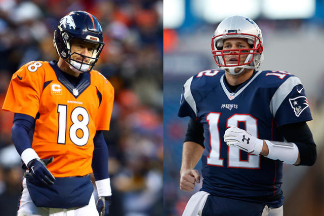 Denver Broncos quarterback Peyton Manning (left), New England Patriots quarterback Tom Brady (right), (USA Today Sports file photos)