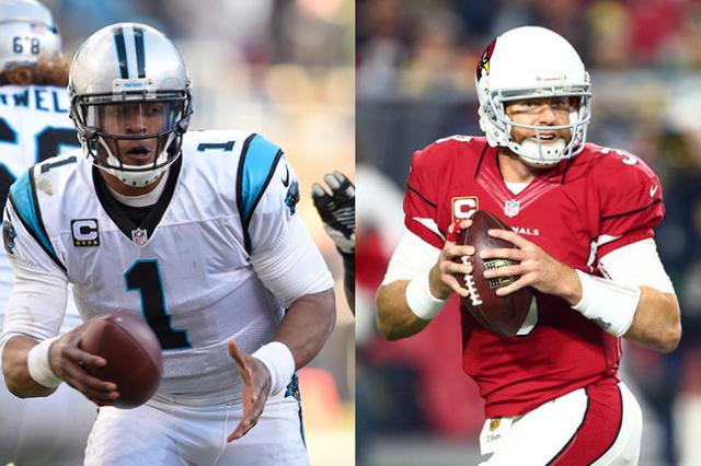 Carolina Panthers quarterback Cam Newton (left), Arizona Cardinals quarterback Carson Palmer (right). (USA Today Sports file photos)