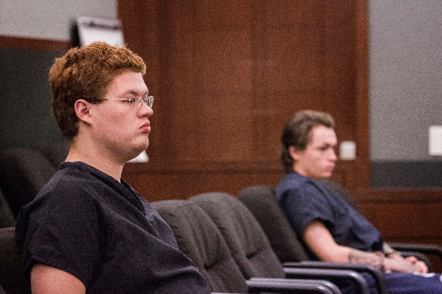 Defendants Derrick Andrews, left, and Erich Nowsch appear in Regional Justice Center on May 21, 2015. (Jeff Scheid/Las Vegas Review-Journal)