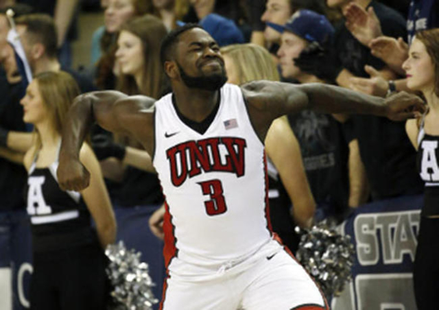 UNLV Rebels guard Jordan Cornish reacts after a three-pointer in the second half against the Utah State Aggies in Logan, Utah. (Jeff Swinger-USA TODAY Sports)