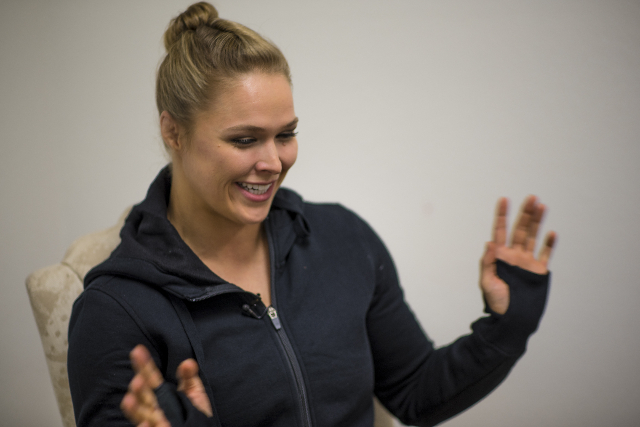 Ronda Rousey is interviewed at the Las Vegas Production Studio in Las Vegas on Friday, May 22, 2015. Rousey is the UFC Women's Bantamweight champion. (Joshua Dahl/Las Vegas Review-Journal)