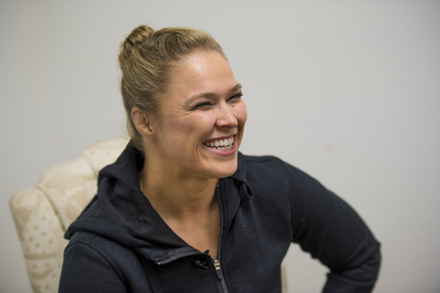 Ronda Rousey laughs during an interview at the Las Vegas Production Studio in Las Vegas on Friday, May 22, 2015.  (Joshua Dahl/Las Vegas Review-Journal)