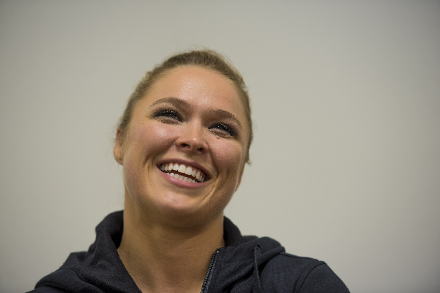 UFC Women's Bantamweight champion Ronda Rousey laughs during an interview at the Las Vegas Production Studio in Las Vegas on Friday, May 22, 2015. (Joshua Dahl/Las Vegas Review-Journal)