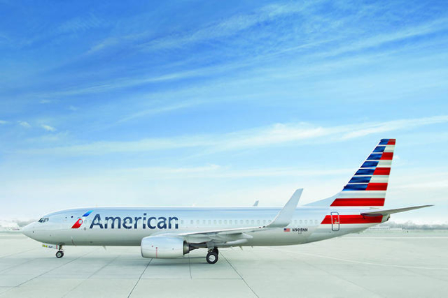 Images of an American Airlines Boeing 737-800 in the company's newly updated livery.