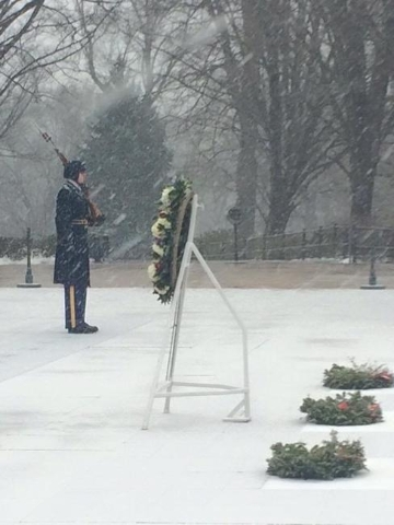 Our fellow Old Guard Soldiers continue to stand watch at the Tomb of the Unknowns as Winter Storm Jonas enters the Washington DC area. (CNN)