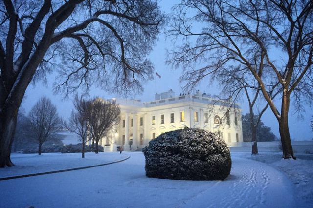 The White House in the blizzard. (CNN)