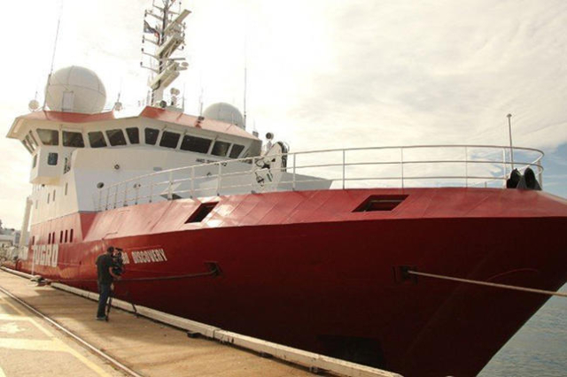 The Fugro Discovery, one of the specialist search vessels being used in the hunt for MH370. (Tim Schwarz/CNN)