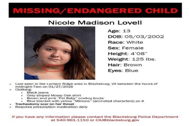 A Virginia Tech freshman was charged with murder Saturday night after the remains of a 13-year-old girl who disappeared from her home were found in North Carolina. Nicole Madison Lovell was last s ...