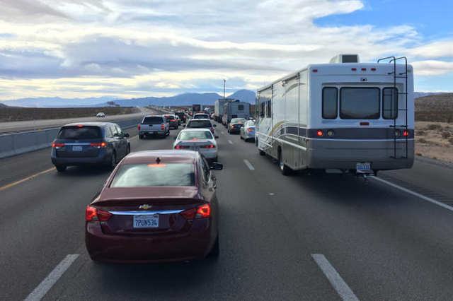 A fatal pedestrian accident on southbound Interstate 15 near Jean coupled with holiday traffic leaving Las Vegas has vehicles backed up for several miles on Monday, Jan. 18, 2016. (Bizuayehu Tesfa ...
