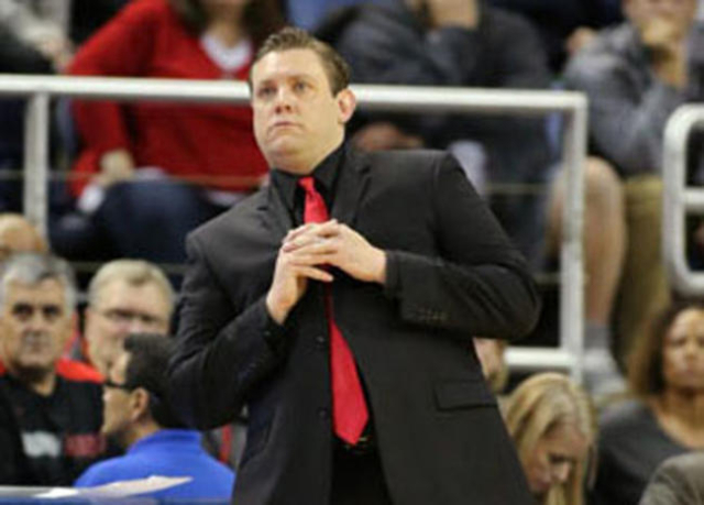 Rebels Interim Head Coach Todd Simon works the sidelines of a game against Nevada in Reno, Nev., on Saturday, Jan. 23, 2016. Cathleen Allison/Las Vegas Review-Journal