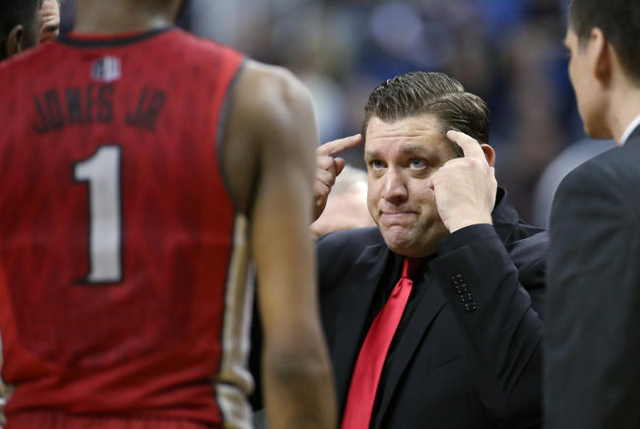 UNLV Head Coach Todd Simon works the sidelines of a men's college basketball game against Nevada in Reno, Nev., on Saturday, Jan. 23, 2016. Cathleen Allison/Las Vegas Review-Journal