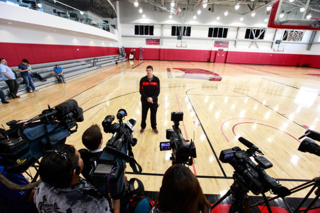 UNLV Runnin' Rebels coach Dave Rice speaks with news media about former UNLV coach Jerry Tarkanian following his passing at age 84 in the morning at Valley Hospital, inside Mendenhall Center ...