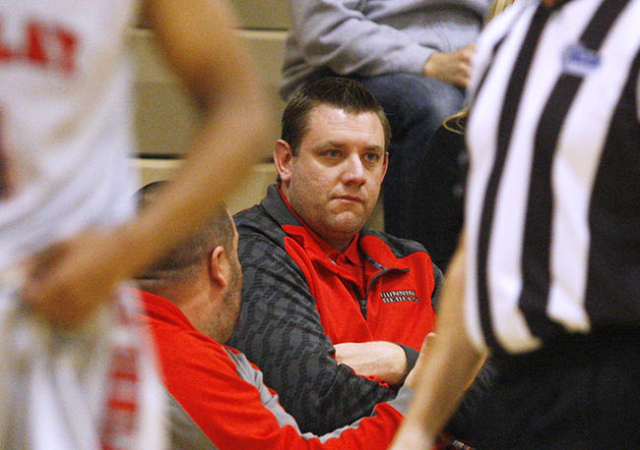 UNLV basketball assistant coach and former Findlay Prep coach Todd Simon watches Findlay Prep take on Westwind during their game Tuesday, Nov. 25, 2015 at Henderson International School. (Sam Morr ...