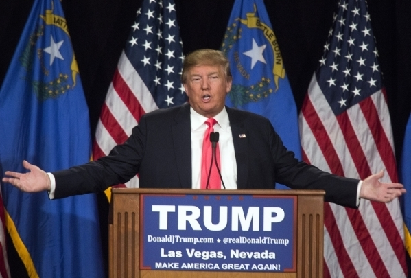 Donald Trump speaks during a rally at the South Point, 9777 South Las Vegas Boulevard, on Thursday, Jan. 21, 2016. (Jeff Scheid/Las Vegas Review-Journal)