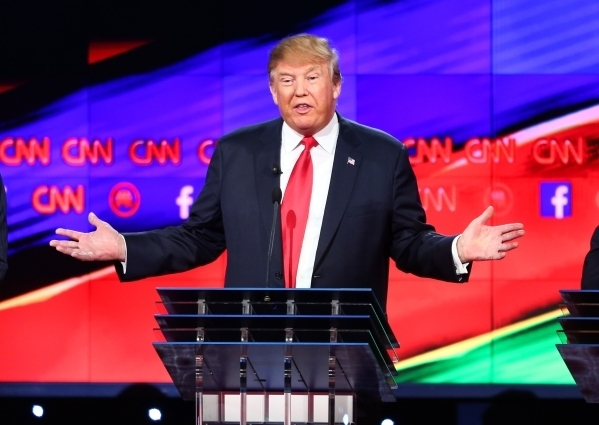 Donald Trump speaks during the CNN Republican presidential debate at the Venetian hotel-casino in Las Vegas on Tuesday, Dec. 15, 2015. (Chase Stevens/Las Vegas Review-Journal)