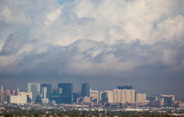 Clouds hover above the Las Vegas Valley as seen from Green Valley Ranch. (Chase Stevens/Las Vegas Review-Journal)
