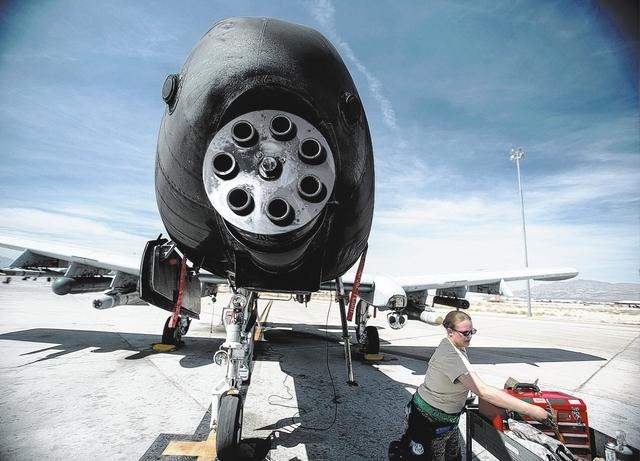 A Gatling gun on an A-10 Thunderbolt at Nellis Air Force Base as seen Friday, March 28, 2014. (Jeff Scheid/Las Vegas Review-Journal)