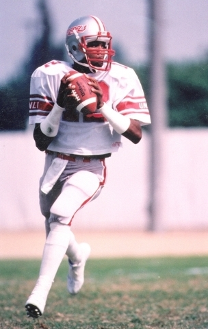 Quarterback Randall Cunningham drops back to pass during his playing days at UNLV. (Courtesy of UNLV sports information department)