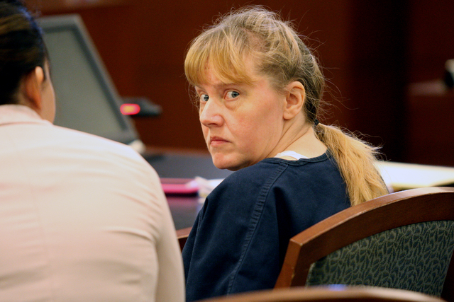 Deborah Sena, one of two women accused of sexually abusing at least eight children and young teens, some on video, appears in court Wednesday February 25, 2015. (Michael Quine/Las Vegas Review-Jou ...