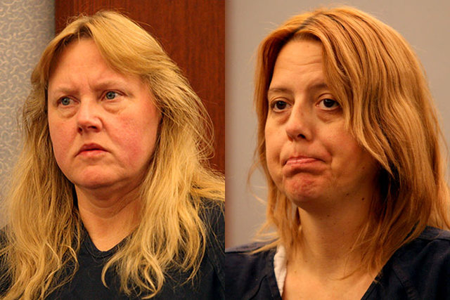 Deborah Sena, left, and Terrie Sena, two of the defendants facing multiple charges in a sexual assault case, are shown in court on Dec. 15, 2014. (Michael Quine/Las Vegas Review-Journal)