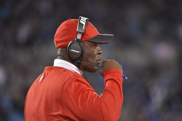 Tampa Bay Buccaneers head coach Lovie Smith in the fourth quarter. The Panthers defeated the Buccaneers 38-10 at Bank of America Stadium. Bob Donnan-USA TODAY Sports