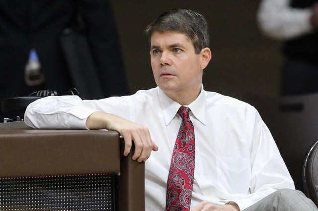 UNLV Runnin' Rebels head coach Dave Rice  before the game against the Wyoming Cowboys at Arena-Auditorium in 2014. Mandatory Credit: Troy Babbitt-USA TODAY Sports