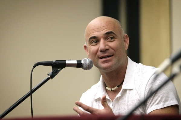 Andre Agassi engages in a conversation with actress Elisabeth (cq) Shue (not pictured) in front of students at Andre Agassi College Preparatory Academy in Las Vegas on Tuesday, Apr. 30, 2013. Shue ...