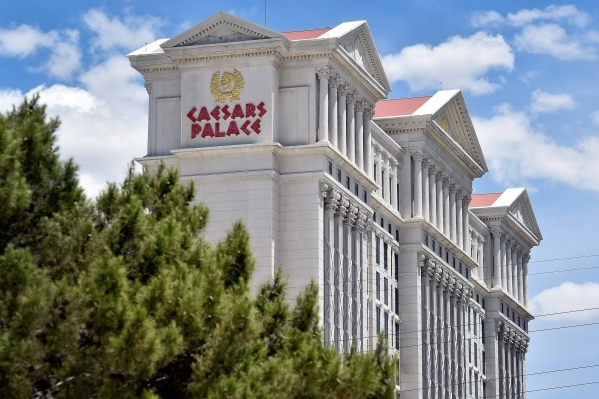 Caesars Palace hotel-casino is seen on Tuesday, May 12, 2015, in Las Vegas. Caesars Entertainment Corp. said it was in discussions with federal authorities to settle money laundering allegations a ...