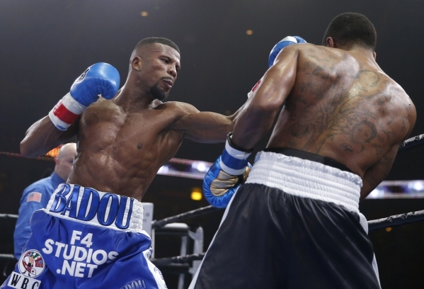Badou Jack, left, and Anthony Dirrell fight April 24 in Chicago. Jack won a 12-round majority decision over Dirrell and, with the victory, the World Boxing Council super middleweight title.   Kami ...