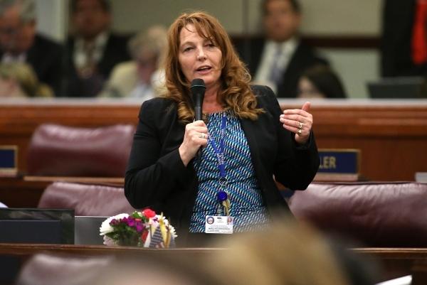 Nevada Assembly Minority Leader Marilyn Kirkpatrick, D-North Las Vegas, speaks in support of Gov. Brian Sandoval's $1.1 billion tax plan during the Assembly floor debate at the Legislative B ...