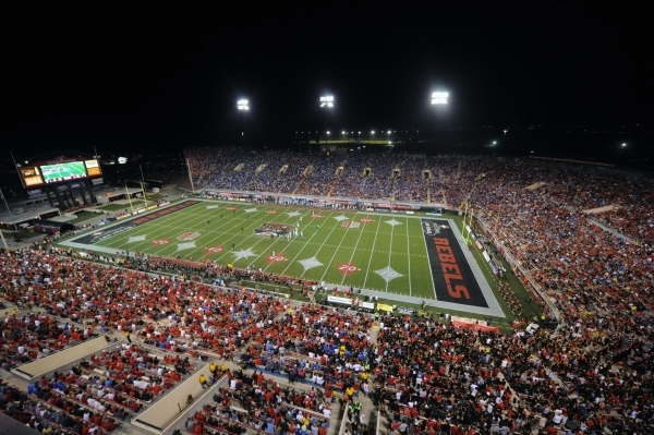 A general view of the capacity crowd at Sam Boyd Stadium during an NCAA Football game between the UCLA Bruins and the UNLV Rebels at Sam Boyd Stadium Saturday, Sept. 12 2015. (Josh Holmberg/Las Ve ...